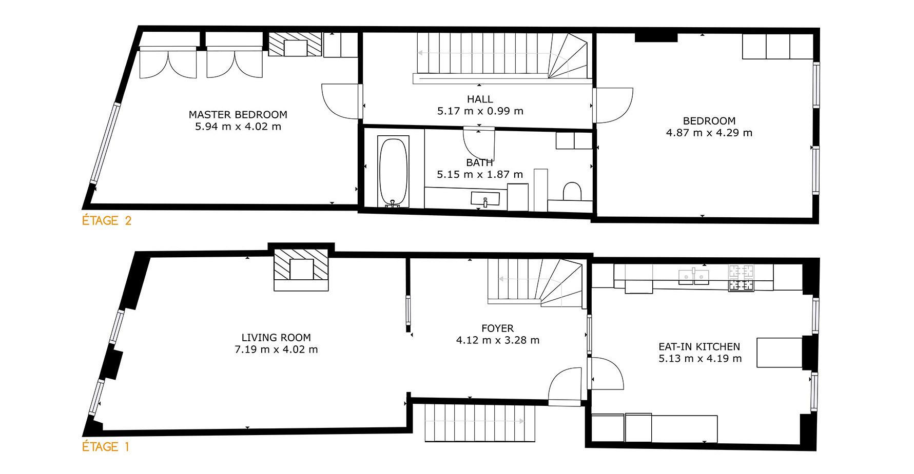plan maison à vendre etage 1 et 2